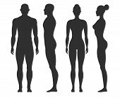Man And Woman Silhouettes. Human Body Outline Shapes In Side And Front View. Standing Male And Femal poster