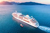 Cruise Ship At Harbor. Aerial View Of Beautiful Large White Ship At Sunset. Colorful Landscape With  poster