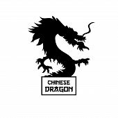 Chinese Dragon Black Silhouette Vector Illustration. Traditional Chinese Mythological Creature. Lege poster