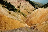 Erosional landscape in Groapa Ruginoasa, Apuseni mountains, Romania