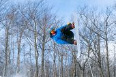 A Snowboarder Performs An Aerial Grab In A Terrain Park poster