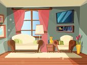 Luxury Room. Premium Interior Of Living Room With Perfect Old Wooden Furniture Lounge Place Vector C poster