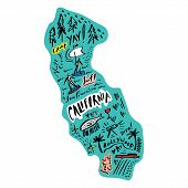 Cartoon Map Of California Vector Illustration. Printable Art For Textile, Souvenirs, Picture For Web poster