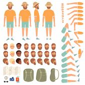 Travel People Constructor. Body Parts Of Happy Travellers With Various Clothes Tourist Vector Creati poster