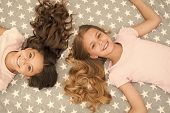 Children Curly Hairstyle Relaxing. Keep Hair Curly Even Next Morning. Girls Children With Long Hair  poster