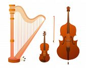 Set Of Stringed Musical Instruments. Collection Of Balalaika, Harp, Double Bass, Violin, Guitar. Des poster