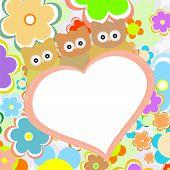 Buhos en flores con gran corazón. Vector
