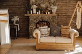 Chalet Cozy Interior Wooden Sofa And Fireplace. Rustic Home Design For Warm Indoor Space Alpine Vaca poster