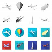 Isolated Object Of Transport And Object Symbol. Collection Of Transport And Gliding Vector Icon For  poster