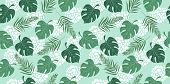 Hand Drawn Horizontal Seamless Pattern With Tropical Leaves On Blue Background. Endless Texture For  poster