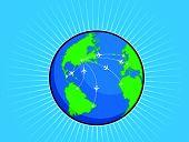 Rota de avião ao redor do globo do mundo