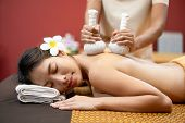 Beautiful Young Woman In Spa Salon, Body Care. Spa Body Massage Woman Hands Treatment. Woman Having  poster