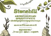 Hand Drawn Vintage Vector Alphabet Abc Font With Letters, Numbers, Symbols. For Calligraphy, Letteri poster