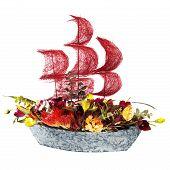 Постер, плакат: Украшение цветами корабль с малиновой паруса