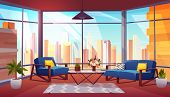 Hotel Suite, Office Lounge Area, Condominium Apartment Living Room Cartoon Vector Interior. Comforta poster