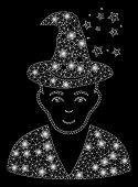 Glossy Mesh Magic Master With Sparkle Effect. Abstract Illuminated Model Of Magic Master Icon. Shiny poster