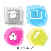 Education icon set. Graduation cap, book, inkstand, feather. Glass buttons. Vector illustration. Eps