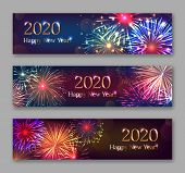 Happy New Year Horizontal Flyers With Bursting Fireworks Series. Festive Template With Copyspace. Re poster