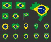 Brazil Flag Icons Set, Symbols Of The Flag Of Federative Republic Of Brazil poster