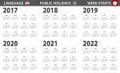 2017-2022 Year Calendar In Croatian Language, Week Starts From Sunday. Vector Calendar. poster