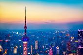Aerial Cityscape Of Shanghai At Sunset. Panoramic View Of Shanghai, China Skyline From The Skyscrape poster