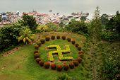 Buddhist Swastika Topiary In Sandakan, Sabah, Borneo, Malaysia