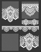 Delicate White Lace Seamless Vectors Patterns and Brushes. Create stunning textile projects or paper craft items.