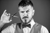 Businessman Strict Face Hold Scissors. Barber With Beard And Mustache Hold Steel Scissors. Grooming  poster