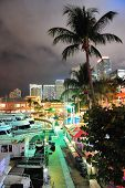 MIAMI, FL - FEB 8: Bayside Marketplace at night on February 8, 2012 in Miami, Florida. It is a festi