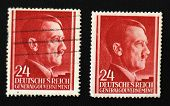 stock photo of tyranny  - Old Nazi German post stamps with Adolf Hitler - JPG