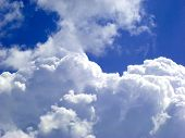 picture of clouds sky  - fluffy clouds on the sky drifting away before storm.