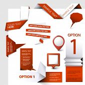 Collection of red Vector web elements