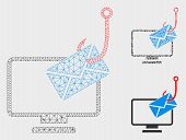 Mesh Computer Mail Phishing Model With Triangle Mosaic Icon. Wire Carcass Triangular Mesh Of Compute poster