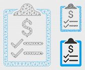 Mesh Invoice Pad Model With Triangle Mosaic Icon. Wire Frame Triangular Mesh Of Invoice Pad. Vector  poster