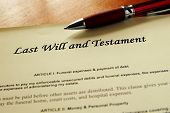 image of deceased  - closeup of a Last Will and Testament document - JPG