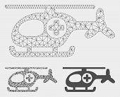 Mesh Helicopter Model With Triangle Mosaic Icon. Wire Carcass Triangular Mesh Of Helicopter. Vector  poster