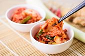 Eating Kimchi Cabbage In A Bowl By Chopsticks, Korean Food poster