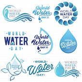 Set Of Letter World Water Day Vector Background For Element Design On The White Background. Collecti poster