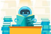 Robot Or Bot Reading Deep Learning Book And Sitting At The Table. Artificial Intelligence Flat Desig poster