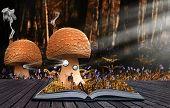 Livro mágico com conteúdo derramar em paisagem de fundo