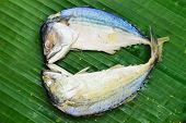 Chub mackerel on a banana leaf