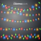 Christmas Lights Set. Vector New Year Decorate Garland With Glowing Light Bulbs. poster