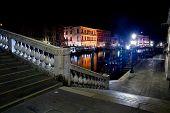 Venice, Rialto Bridge Stairs At Night, Italy