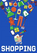 E-shop Or Online Sales, Online Shopping And Digital Marketing Vector Illustration. Shop Different Go poster
