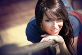 Cute beautiful young woman with sweet smile