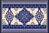 Blue And White Vector Design For Rug, Towel, Carpet, Textile, Fabric, Cover. Floral Stylized Decorat poster
