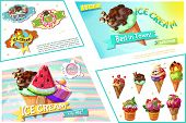 Cartoon Ice Cream Bright Composition With Colorful Icecream Emblems And Ice Cream With Different Fla poster