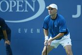 FLUSHING, NY - SEPT 1: Andre Agassi plays against Ivo Karlovic in the second round of the US Open on