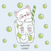 Vector Illustration Of Cute Kawaii Hand Drawn Cat In Anime Style In A Glass Of Apple Cocktail With G poster