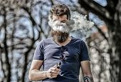 Bearded Man Smoking Vape. Smoking Electronic Cigarette. Man Long Beard Relaxed With Smoking Habit. M poster